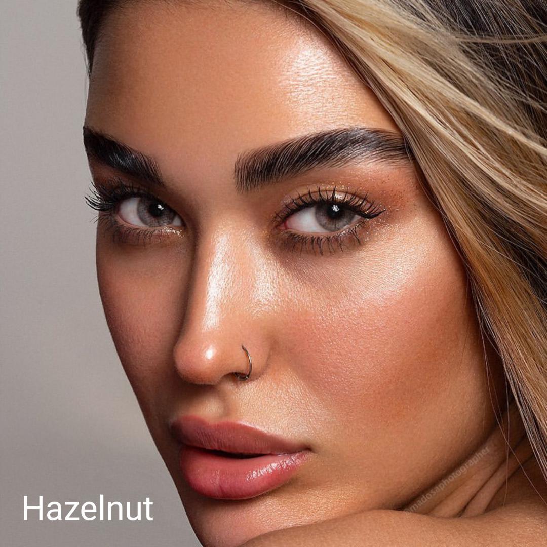 فروش لنزHazelnut (عسلی طوسی سبز بدون دور)  برند شیخ بهمراه قیمت امروز لنز رنگی  و قیمت امروز لنز طبی