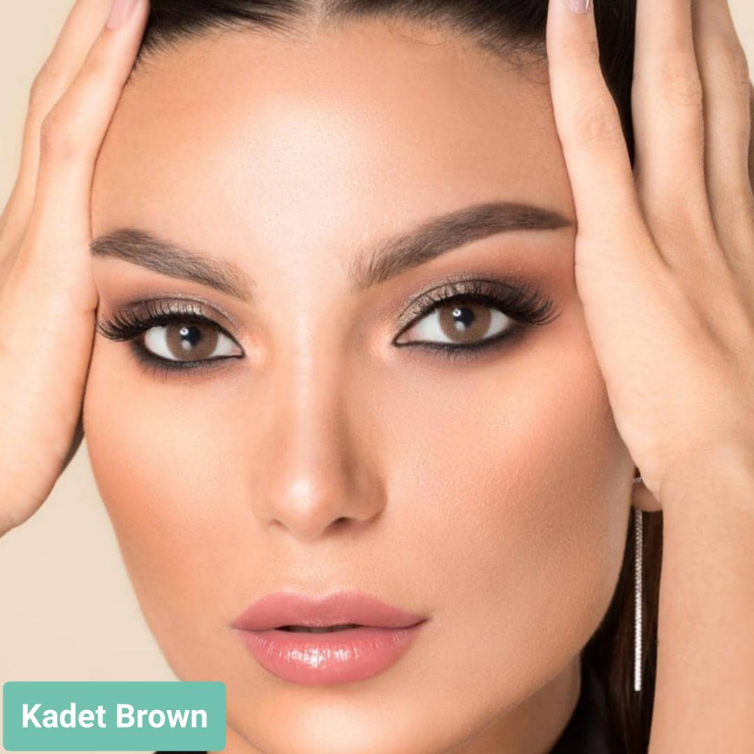 فروش لنز Kadet Brown (قهوه ای دورمحو)  برند لورنس  بهمراه قیمت امروز لنز رنگی  و قیمت امروز لنز طبی