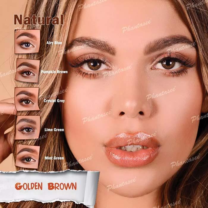 فروش لنز Golden Brown (قهوه ای عسلی)  برند فانتاسی بهمراه قیمت امروز لنز رنگی و قیمت امروز لنز طبی