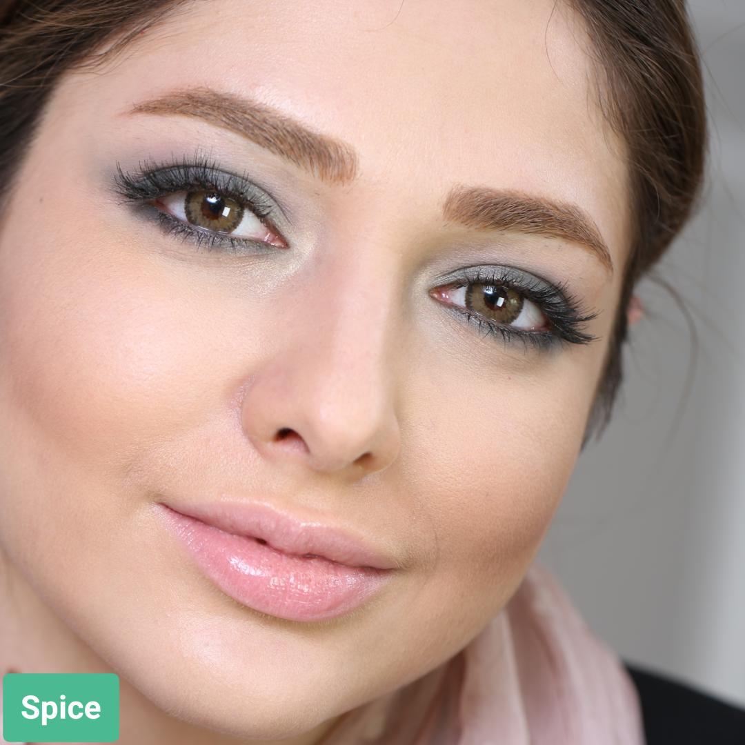 فروش لنز Spice (قهوه ای دوردار)  برند سولکو رنگی  بهمراه قیمت امروز لنز رنگی و قیمت امروز لنز طبی