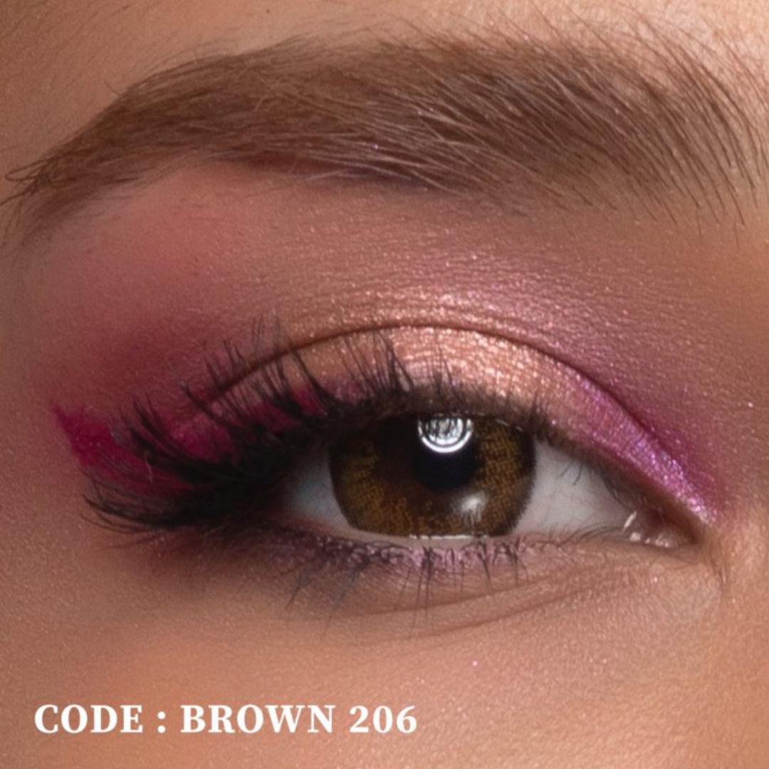 فروش لنز  Brown 206 (قهوه ای دوردار)  بهمراه قیمت امروز لنز رنگی  و قیمت امروز لنز طبی