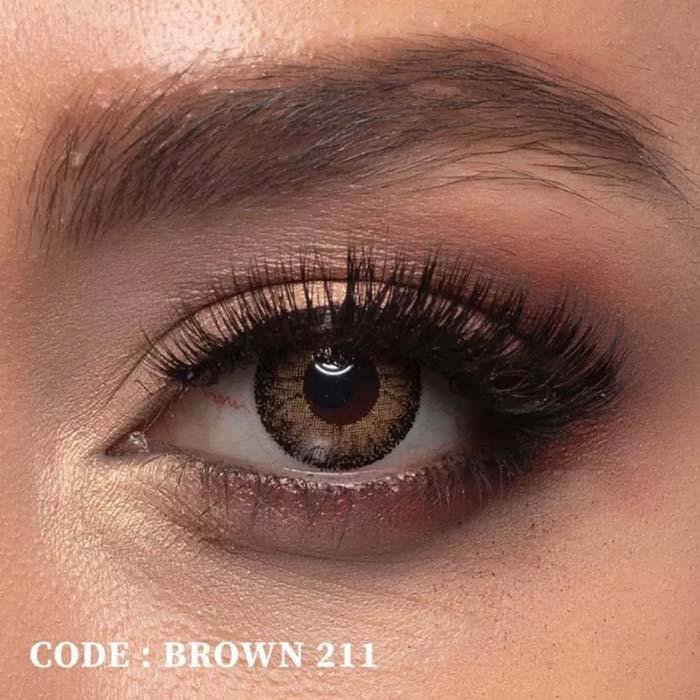فروش لنز Brown 211 (قهوه ای دوردار)  بهمراه قیمت امروز لنز رنگی  و قیمت امروز لنز طبی