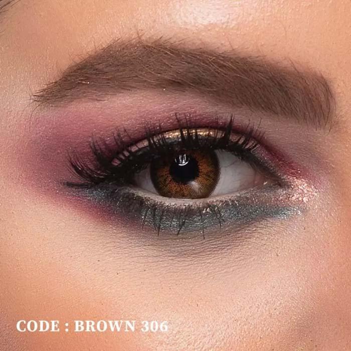 فروش لنز Brown 306 (قهوه ای عسلی)  بهمراه قیمت امروز لنز رنگی  و قیمت امروز لنز طبی