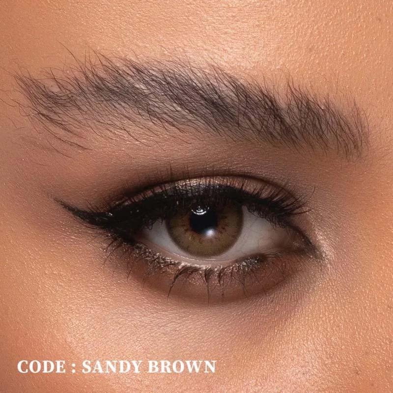 فروش لنز Sandy Brown (قهوه ای دوردار)  بهمراه قیمت امروز لنز رنگی  و قیمت امروز لنز طبی