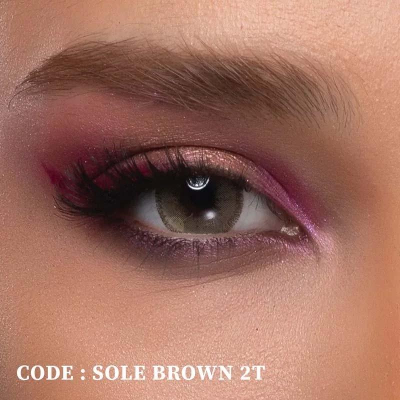 فروش لنز Sole Brown T2 (قهوه ای طوسی دوردار)  بهمراه قیمت امروز لنز رنگی  و قیمت امروز لنز طبی