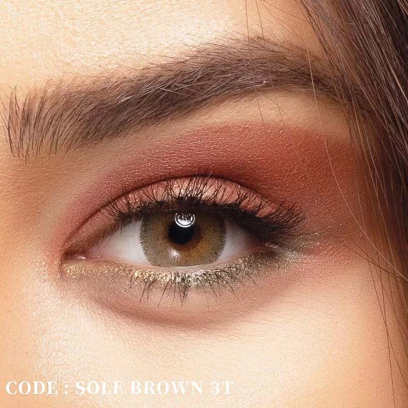 فروش لنز Sole Brown T3 (قهوه ای طوسی وسط عسلی)  بهمراه قیمت امروز لنز رنگی  و قیمت امروز لنز طبی