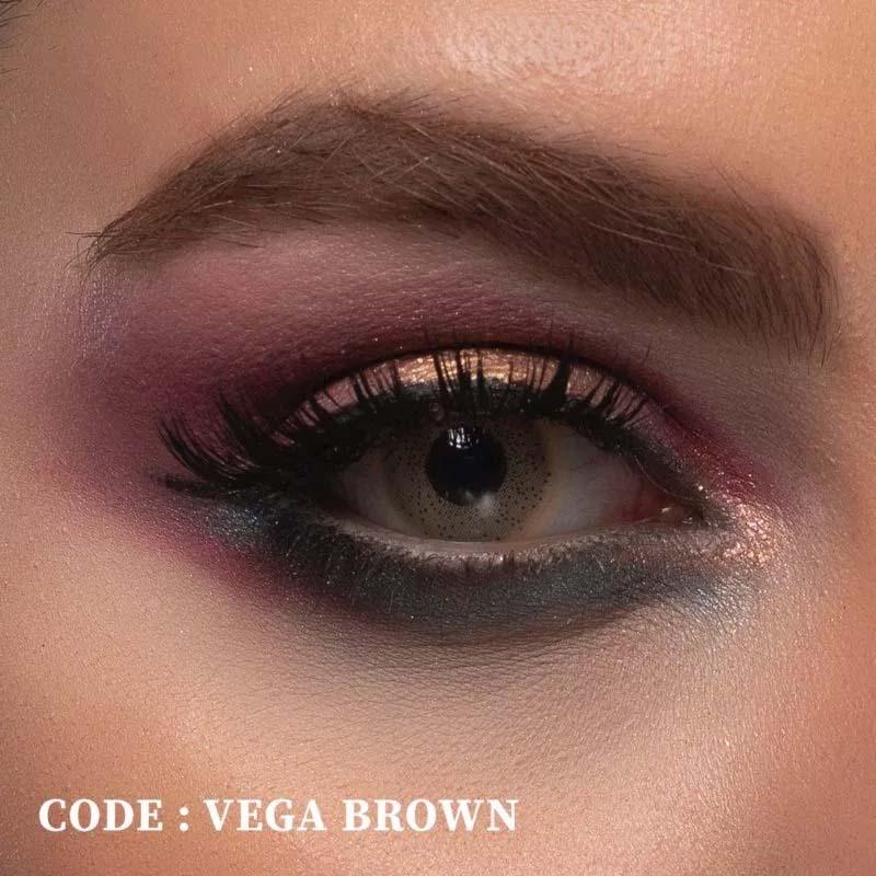 فروش لنز Vega Brown (قهوه ای زیتونی فانتزی)  بهمراه قیمت امروز لنز رنگی  و قیمت امروز لنز طبی