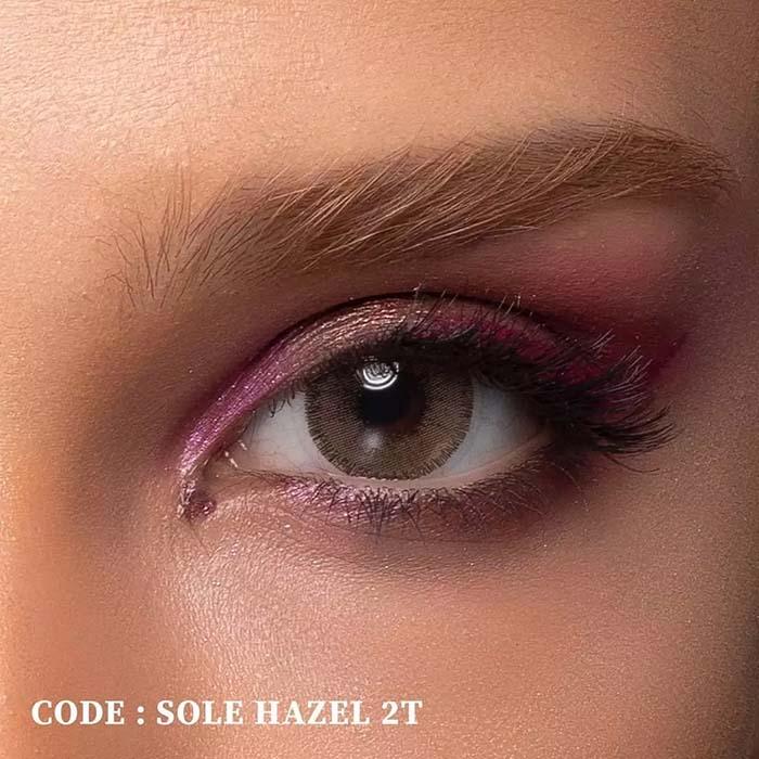 فروش لنز Sole Hazel T2 (قهوه ای کاراملی)  بهمراه قیمت امروز لنز رنگی  و قیمت امروز لنز طبی