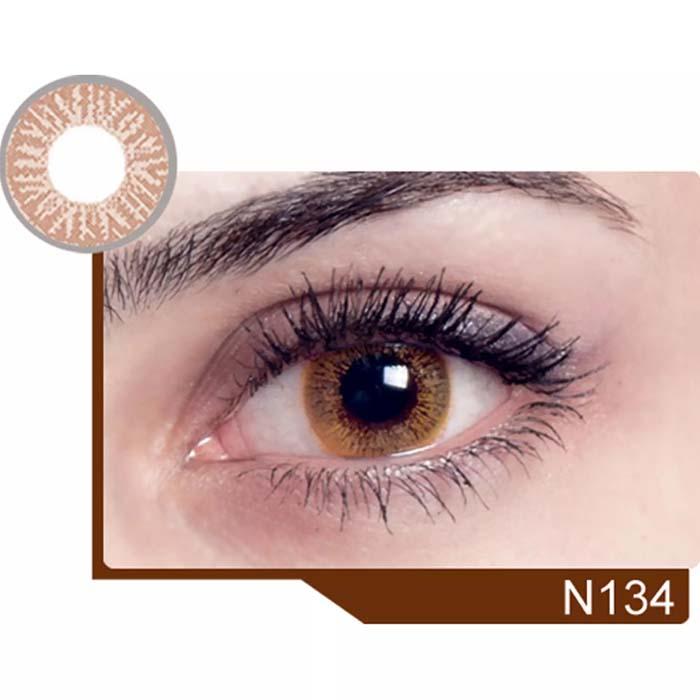 فروش لنز N 134 (قهوه ای بدون دور)  بهمراه قیمت امروز لنز رنگی  و قیمت امروز لنز طبی