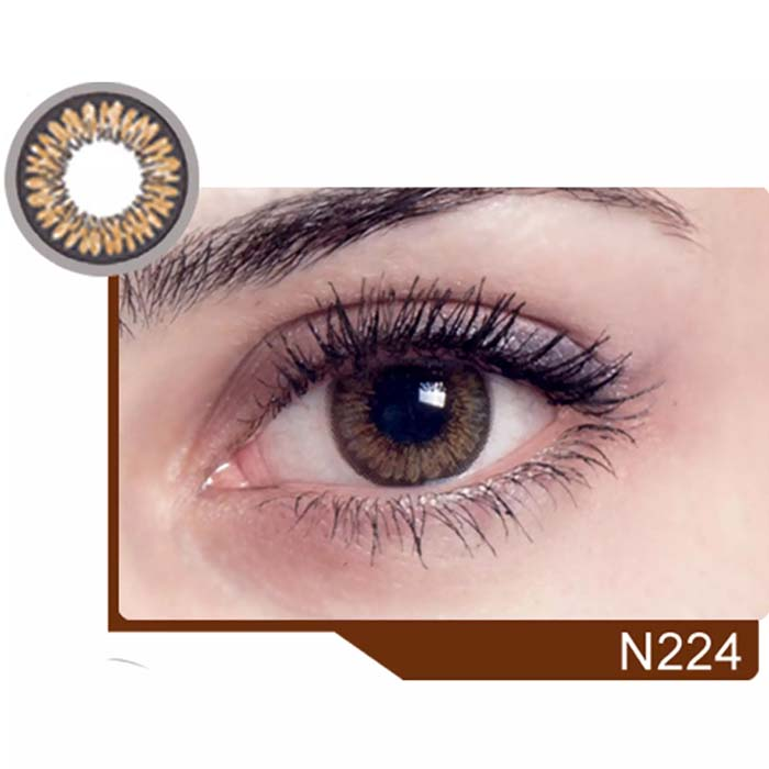 فروش لنز N 224 (قهوه ای دوردار)  بهمراه قیمت امروز لنز رنگی  و قیمت امروز لنز طبی