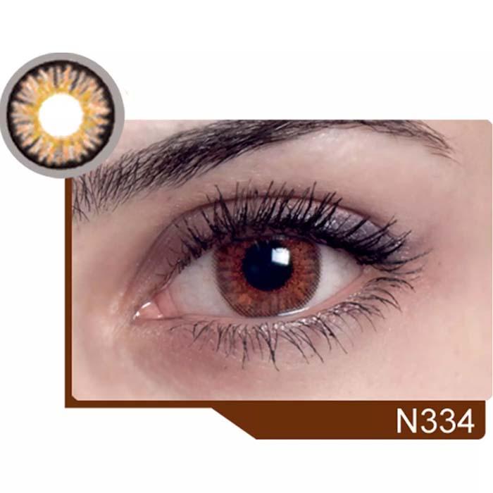 فروش لنز N 334 (قهوه ای عسلی)  بهمراه قیمت امروز لنز رنگی  و قیمت امروز لنز طبی