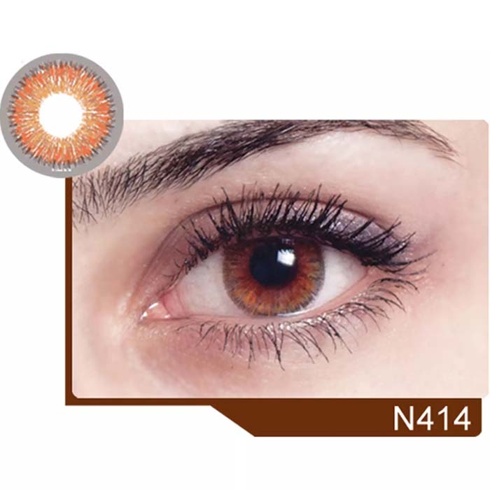 فروش لنز N 414 (قهوه ای عسلی)  بهمراه قیمت امروز لنز رنگی  و قیمت امروز لنز طبی