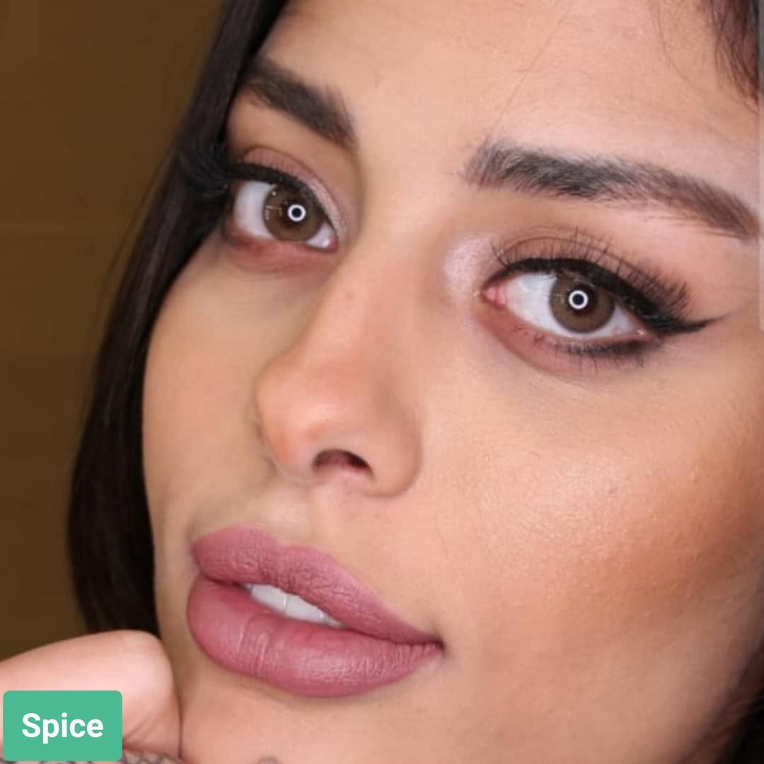 فروش لنز Spice (قهوه ای)  برند سولکو رنگی بهمراه قیمت امروز لنز رنگی و قیمت امروز لنز طبی