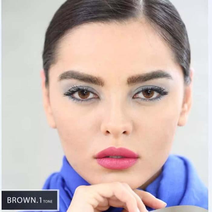 فروش Brown T1 (قهوه ای بدون دور)  بهمراه قیمت امروز لنز طبی و قیمت امروز لنز رنگی