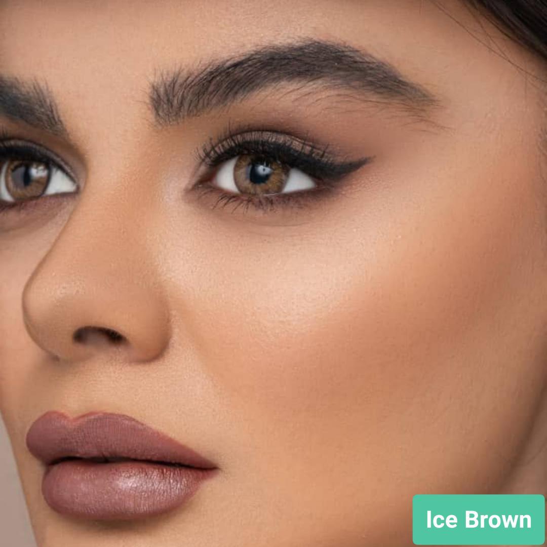 فروش لنز Brown Ice (قهوه ای یخی)   بهمراه قیمت امروز لنز طبی و قیمت امروز لنز رنگی