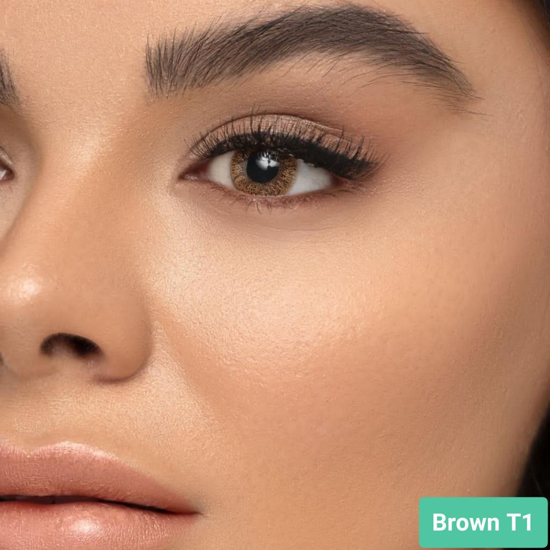 فروش لنز Brown T1 (قهوه ای بدون دور)  بهمراه قیمت امروز لنز طبی و قیمت امروز لنز رنگی