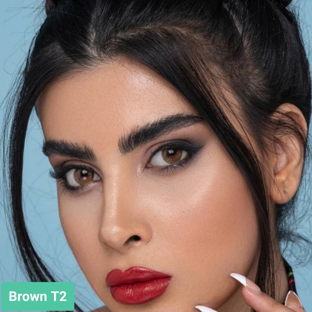 فروش لنزBrown T2 (قهوه ای دوردار)   بهمراه قیمت امروز لنز طبی و قیمت امروز لنز رنگی