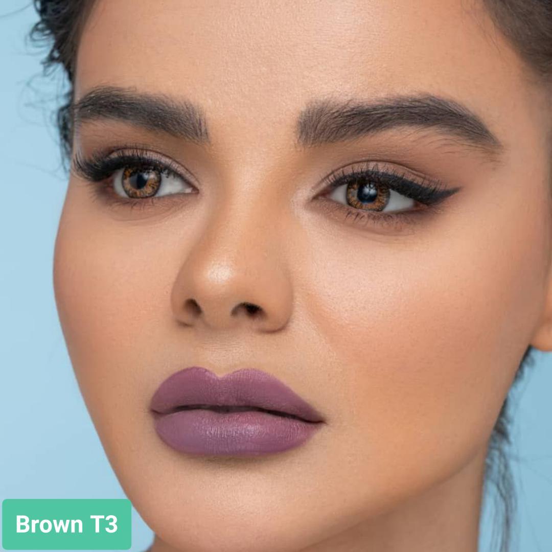 فروش لنزBrown T3 (قهوه ای عسلی)   بهمراه قیمت امروز لنز طبی و قیمت امروز لنز رنگی