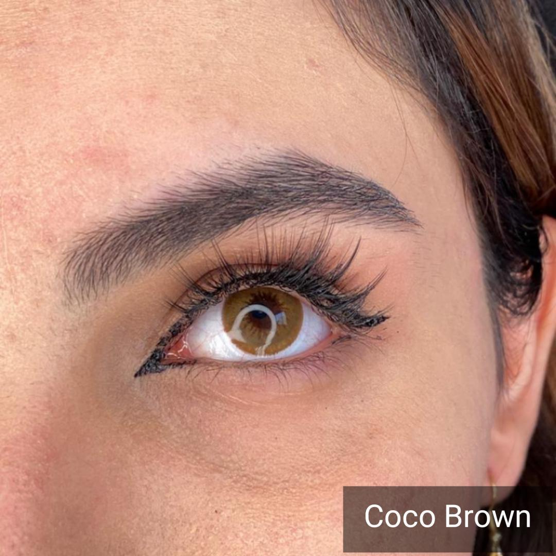 فروش Coco Brown (قهوه ای دور محو) برند دیاموند بهمراه قیمت امروز لنز رنگی و قیمت امروز لنز طبی