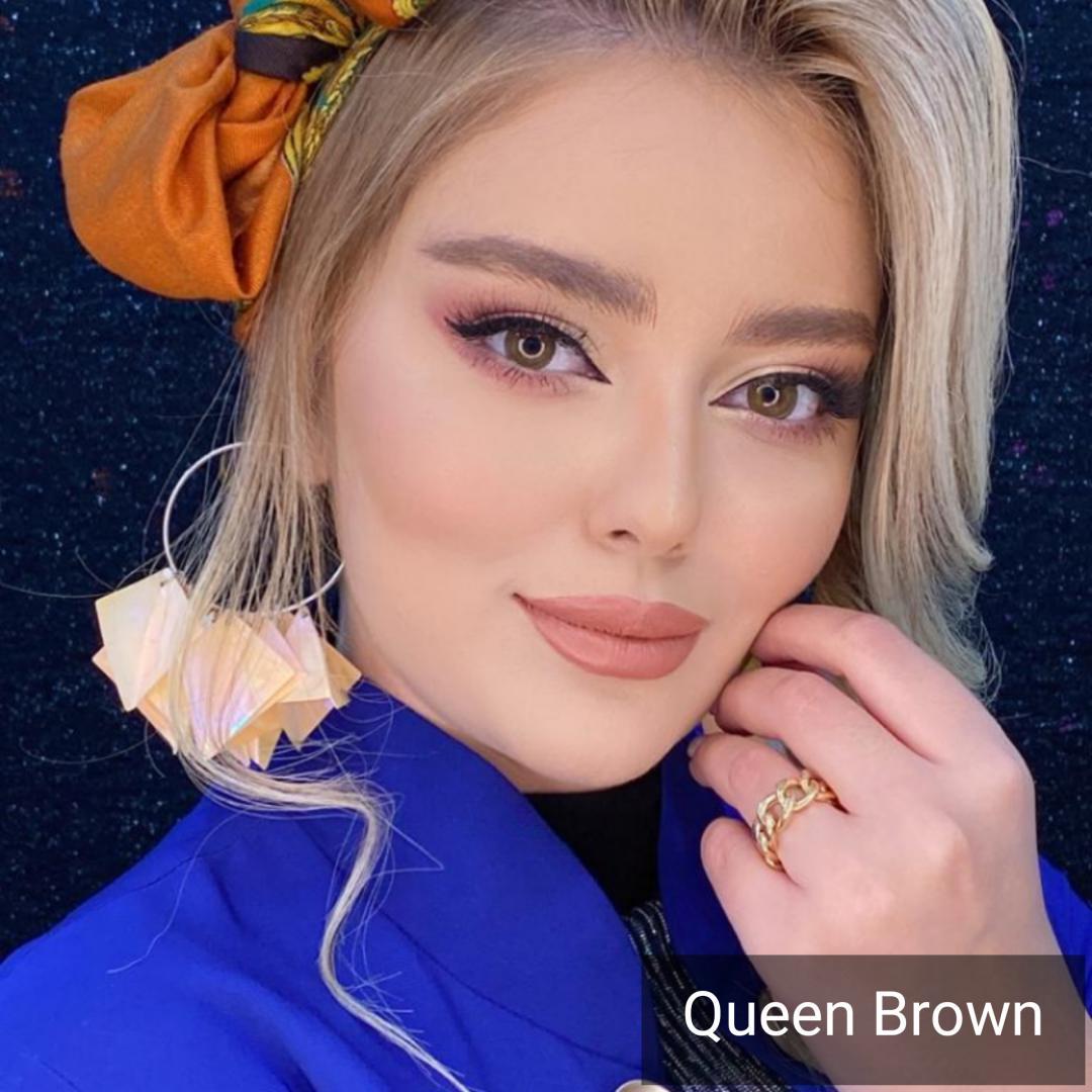 فروش Queen Brown (قهوه ای دور دار ) برند دیاموند بهمراه قیمت امروز لنز رنگی و قیمت امروز لنز طبی