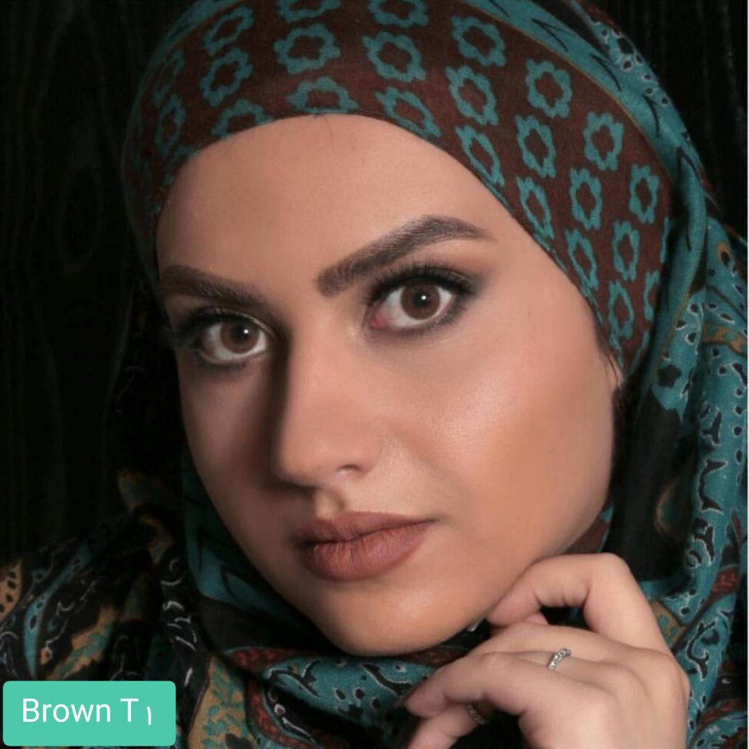 فروش لنز Brown T1(قهوه ای بدون دور)برند الگانس بهمراه قیمت امروز لنز رنگی و قیمت امروز لنز طبی