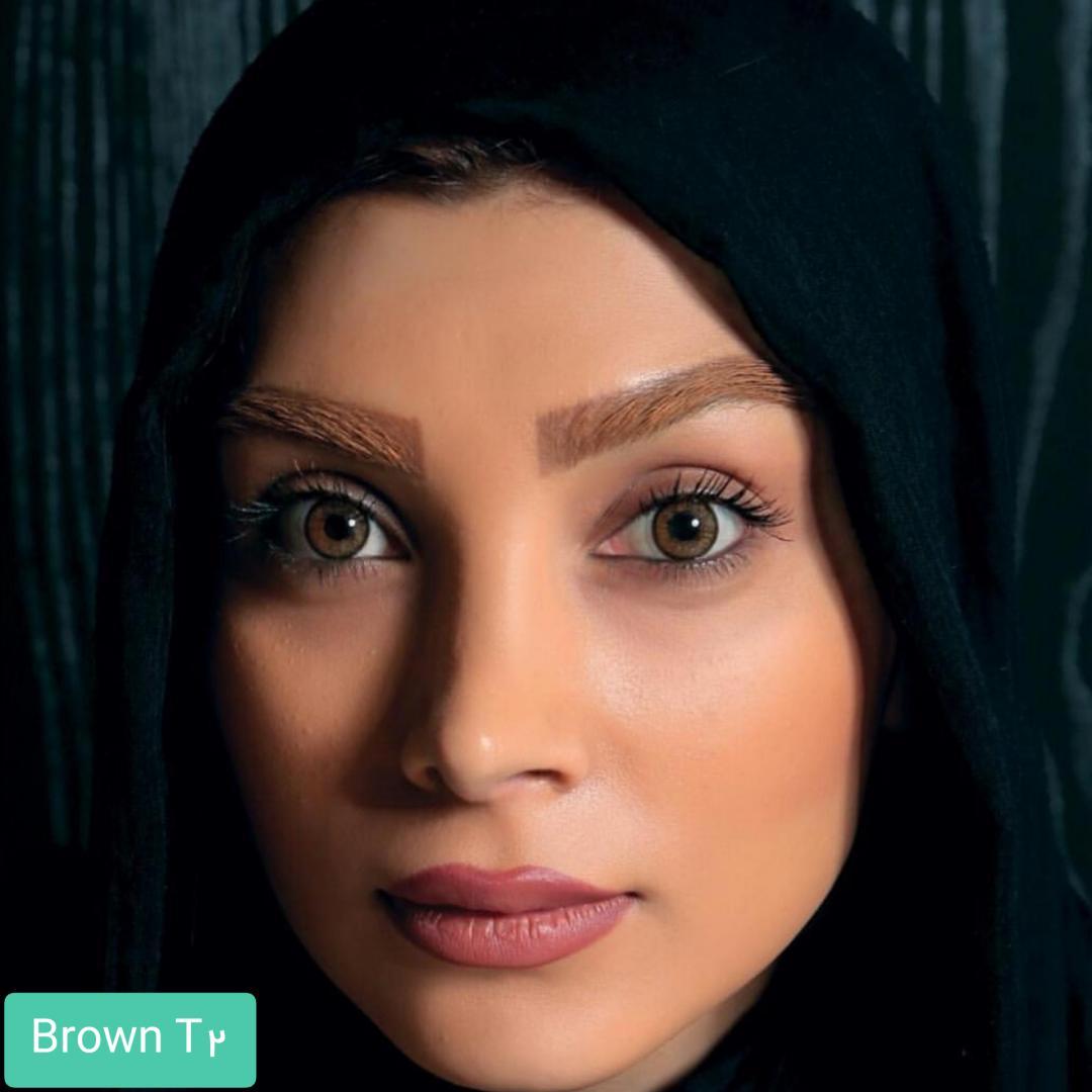 فروش لنز Brown T2(قهوه ای دوردار) برند الگانس بهمراه قیمت امروز لنز رنگی و قیمت امروز لنز طبی