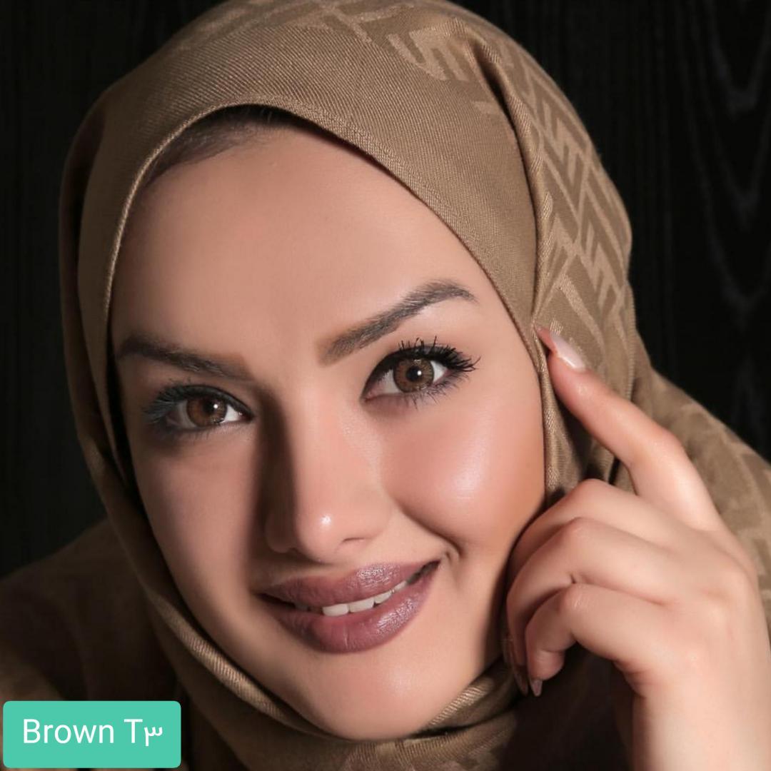 فروش لنز Brown T3(قهوه ای عسلی) برند الگانس بهمراه قیمت امروز لنز رنگی و قیمت امروز لنز طبی