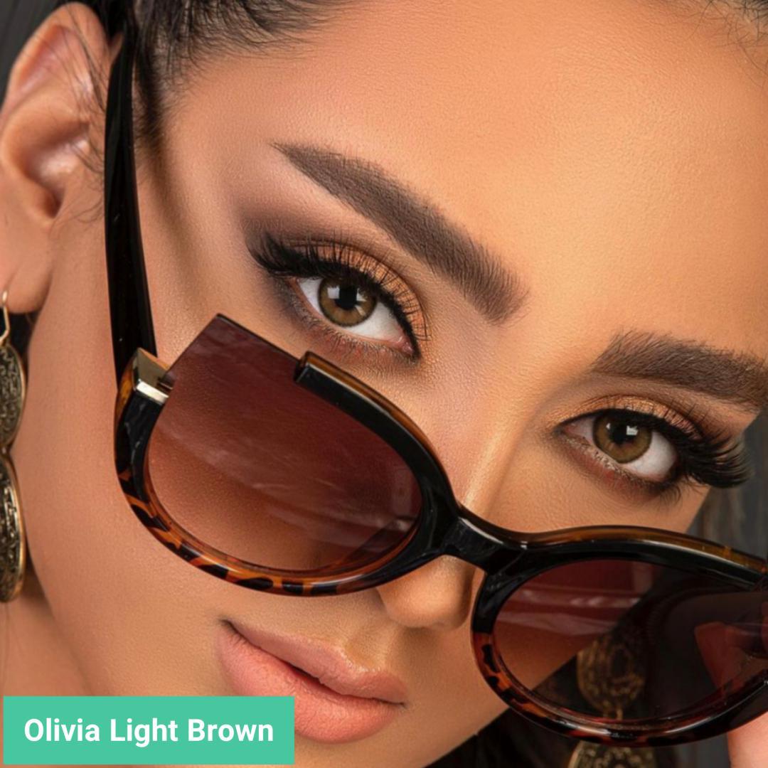 فروش لنز olivia Light Brown (قهوه ای عسلی دوردار)  برند مینی آوا بهمراه قیمت امروز لنز رنگی  و قیمت امروز لنز طبی