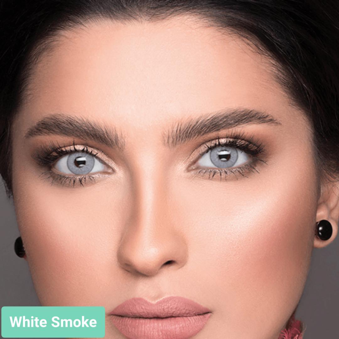 فروش لنز White Smoke (یخی ته مایه آبی دورمحو)  برند لازرد بهمراه قیمت امروز لنز رنگی  و قیمت امروز لنز طبی