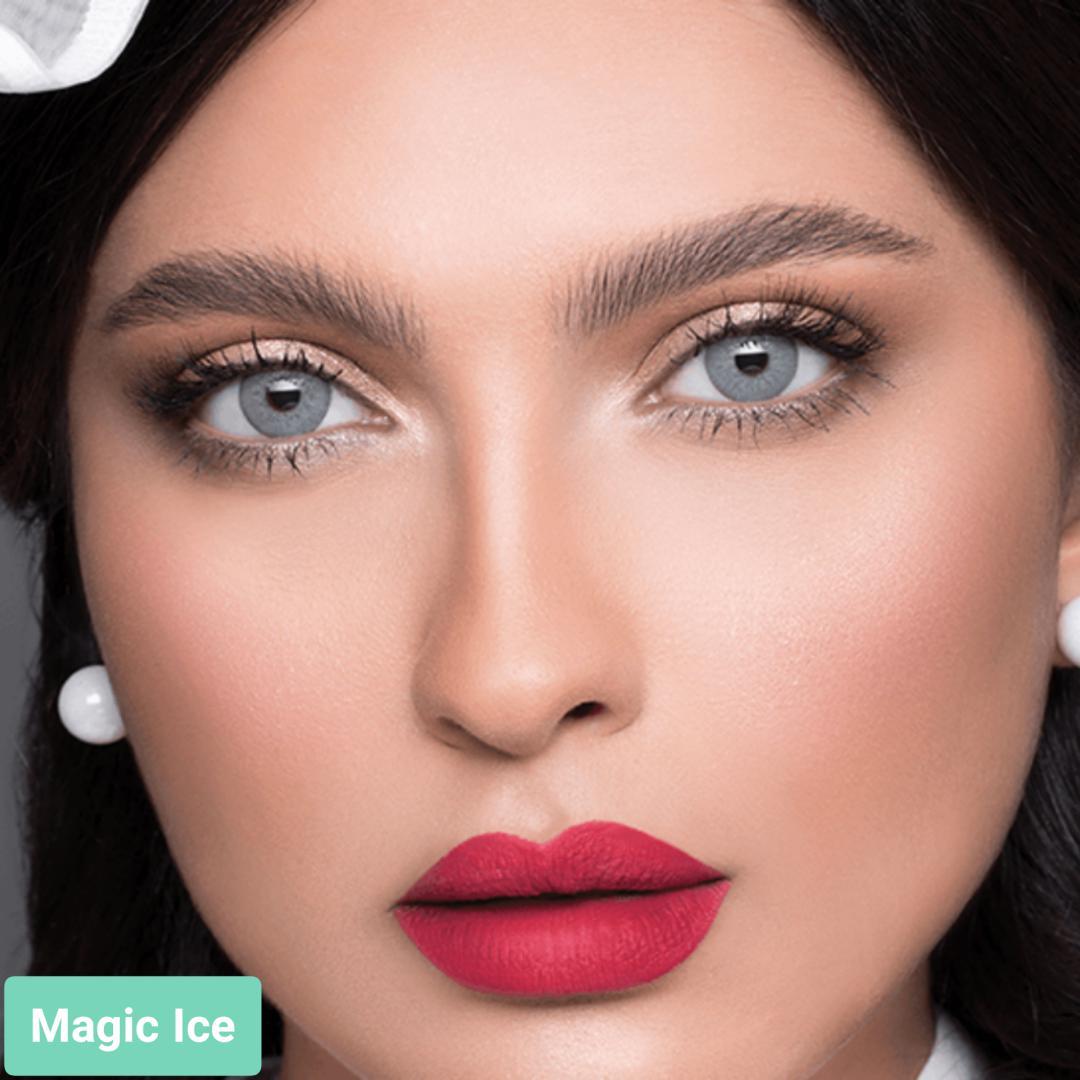فروش لنز Magic Ice (سبز آبی دورمحو)  برند لازرد بهمراه قیمت امروز لنز رنگی  و قیمت امروز لنز طبی