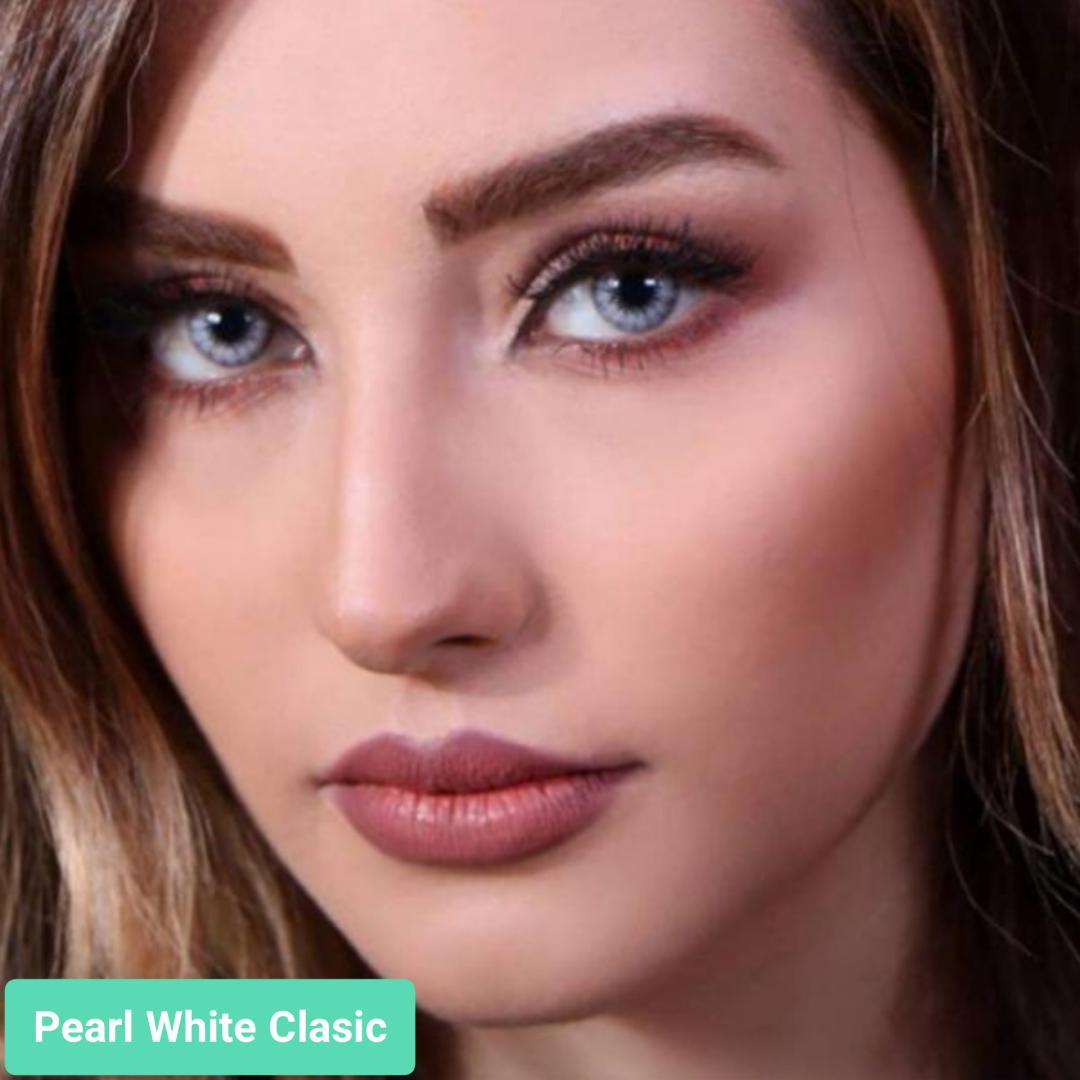 فروش لنز Pearl White Classic (یخی ته مایه آبی دوردار)  برند جمستون لاکچری  بهمراه قیمت امروز لنز رنگی و قیمت امروز لنز طبی
