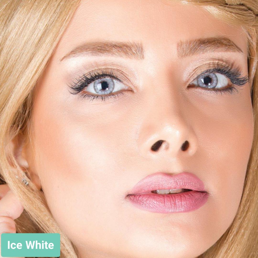 فروش لنز White (طوسی یخی)  برند آیسکالر بهمراه قیمت امروز لنز رنگی و قیمت امروز لنز طبی