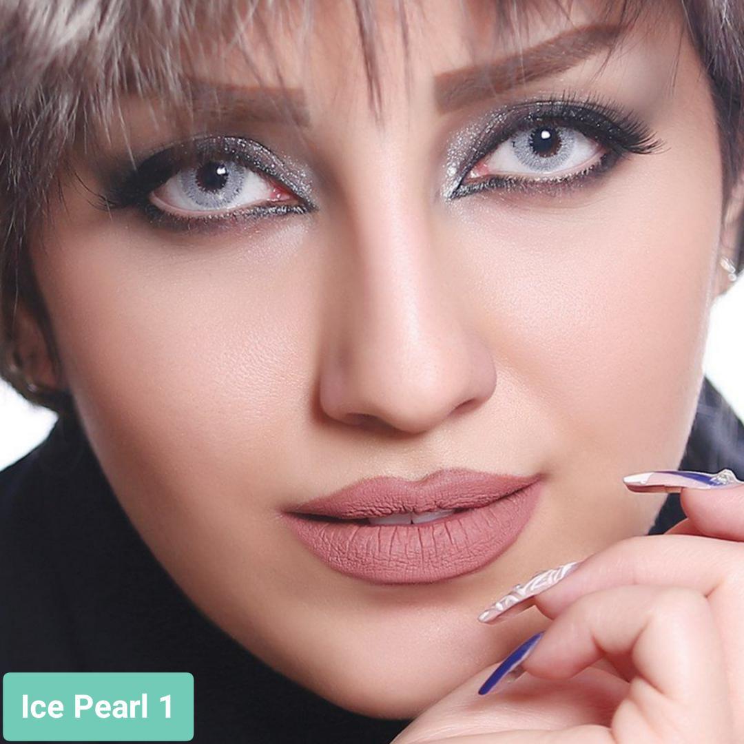 فروش لنز Pearl 1 (طوسی یخی)  برند آیسکالر بهمراه قیمت امروز لنز رنگی و قیمت امروز لنز طبی