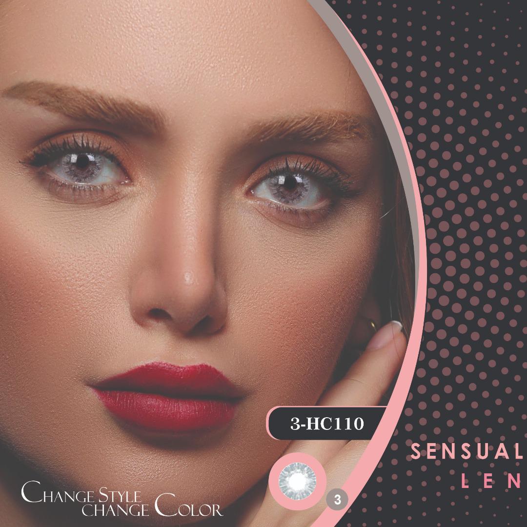 فروش لنز HC110 (طوسی یخی بدون دور)برند هرا رنگی بهمراه قیمت امروز لنز رنگی و قیمت امروز لنز طبی