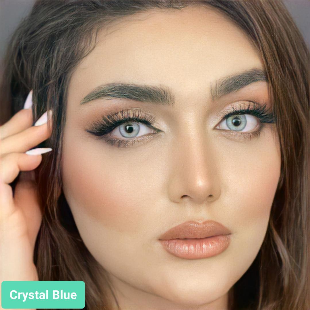 فروش لنزcrystal blue(یخی ته مایه آبی دوردار) برندگلوریا بهمراه قیمت امروز لنز رنگی و قیمت امروز لنز طبی